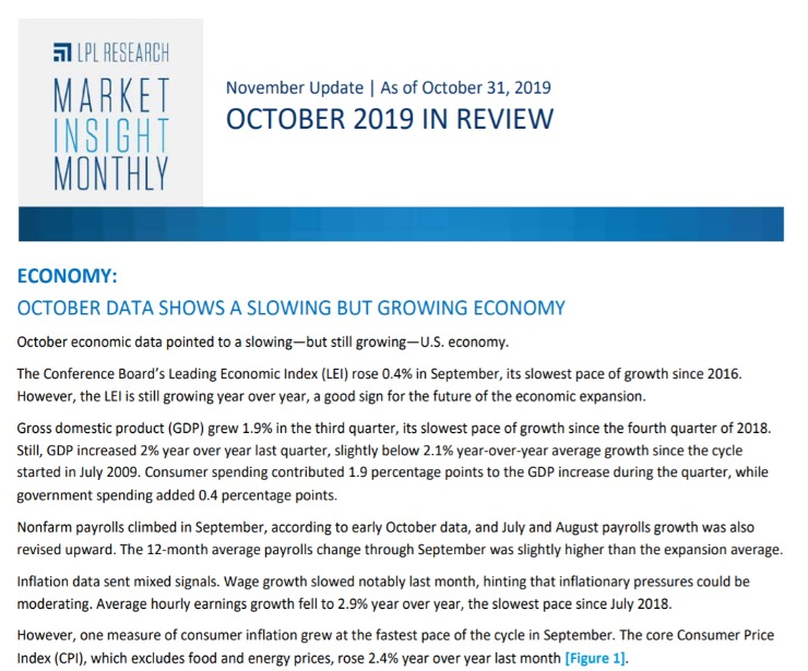 Market Insight Monthly | October 2019
