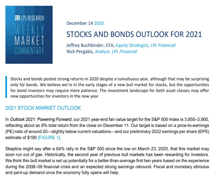 Stocks and Bonds Outlook for 2021   Weekly Market Commentary   December 14, 2020