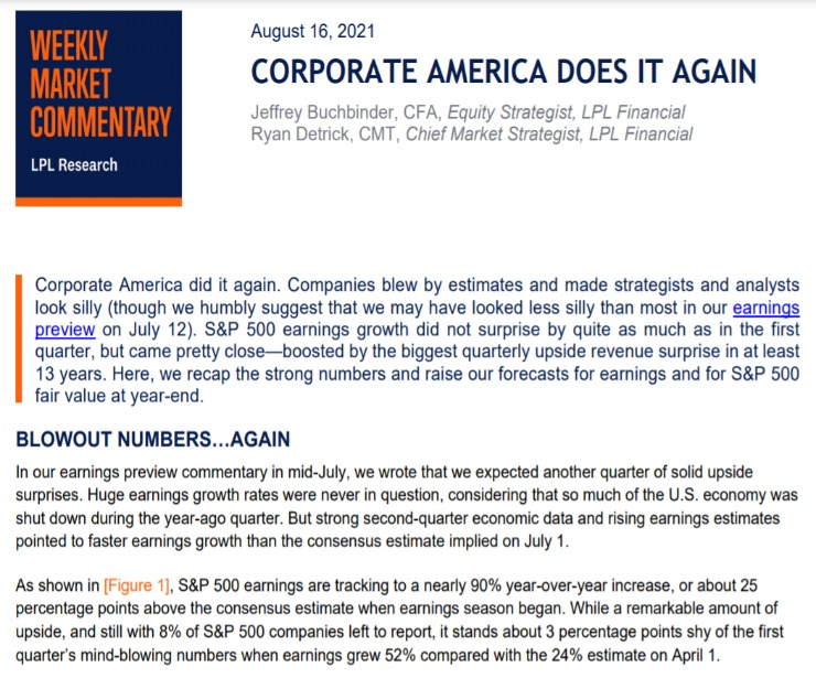 Corporate America Does It Again | Weekly Market Commentary | August 16, 2021