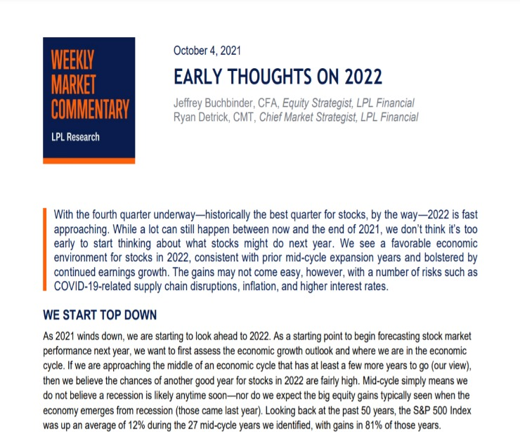 Early Thoughts on 2022 | Weekly Market Commentary | October 4, 2021
