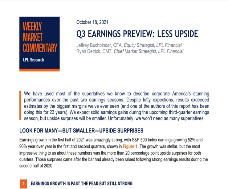 Q3 Earnings Preview: Less Upside | Weekly Market Commentary | October 18, 2021